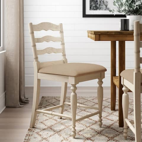 Linon Katy Antique White Wood Upholstered Counter Stool