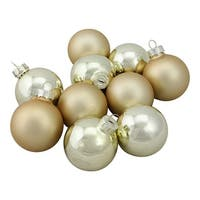 "10-Piece Shiny and Matte Gold Glass Ball Christmas Ornament Set 1.75"" (45mm)"