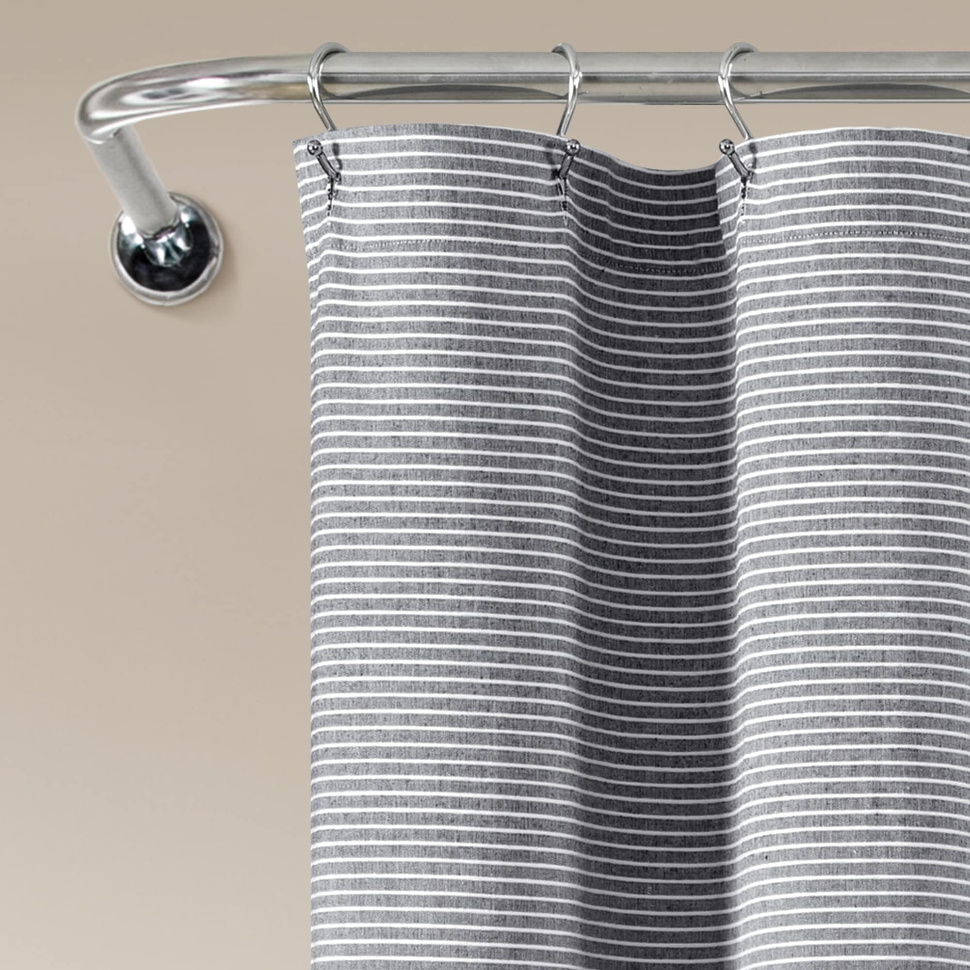 Lush Decor Farmhouse Button Stripe Yarn Dyed Woven Cotton Shower Curtain On Sale Overstock 31272492 Linen