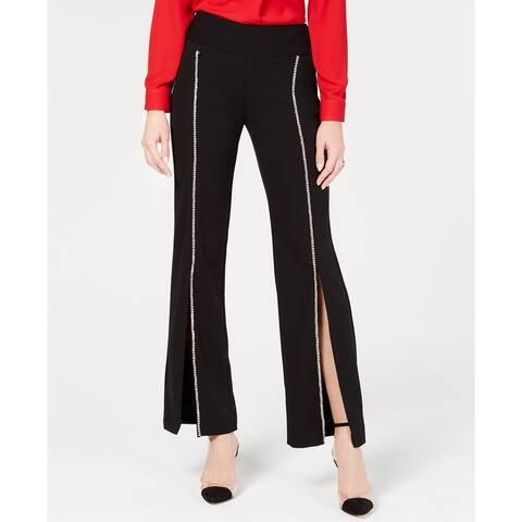 INC International Concepts Petite Rhinestone Split-Leg Pants Black Size 6