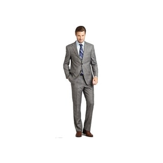 Tommy Hilfiger Mens Trim Fit Plaid Worsted Wool Suit 42R Flat Front Pants 36W