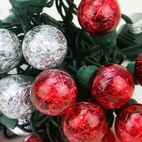Set of 25 Red and Pure White Tinsel Wide Angle LED G30 Globe Valentines Day Christmas Lights - Green Wire - CLEAR