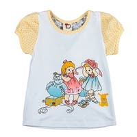 Richie House Baby Girls White Fancy Print Lace Bows Top 12M