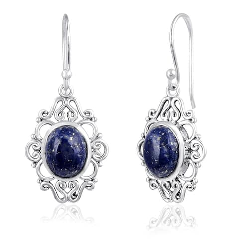 Lapis Lazuli Sterling Silver Oval Dangle Earrings by Orchid Jewelry