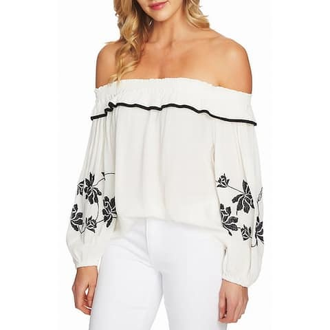Cece Womens White Size Large L Off The Shoulder Embroidered Blouse
