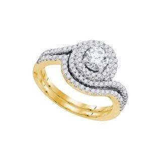14kt Yellow Gold Womens Natural Diamond Round Bridal Wedding Engagement Ring Band Set 1.00 Cttw - White
