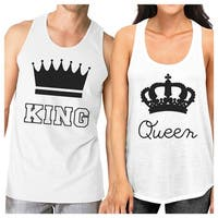King And Queen Matching Couple Tank Tops White Unique Couples Gifts
