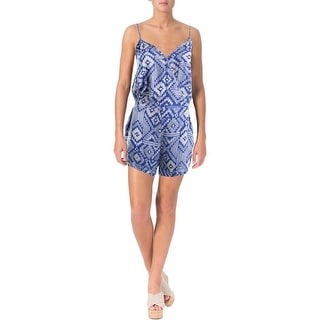 Olivaceous Womens Printed Surplice Romper