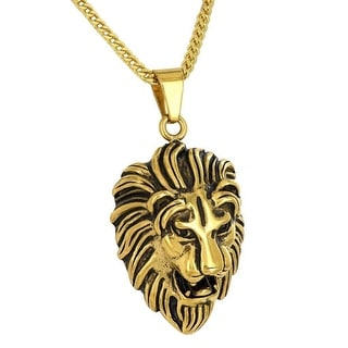 Stainless Steel Lion Pendant 14K Gold Tone Free 24 Inch Franco Necklace Animal Face Charm