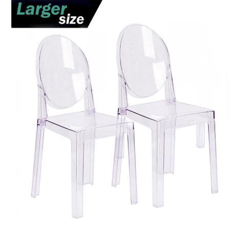 Set of Two (2) - LARGE Size - Clear Victorian Transparent Style Armless Side Chair