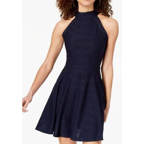 B. Darlin Navy Blue Size 6 Junior A-Line Dress Halter Fit & Flare