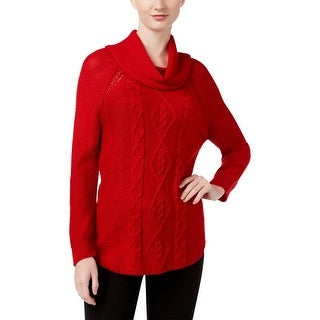 John Paul Richard Womens Pullover Sweater Cowl-Neck Cable-Knit