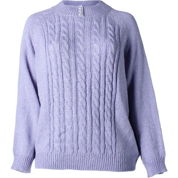 Karen Scott Womens Plus Pullover Sweater Cable Knit Marled