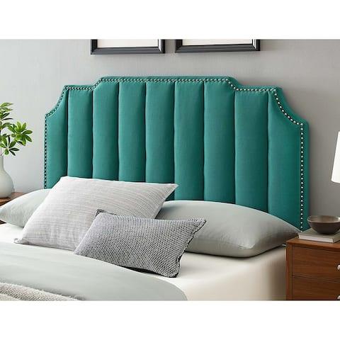 Littleton Channel Tufted Green Velvet Upholstered Full/Queen Size Headboard with Nailhead Trim