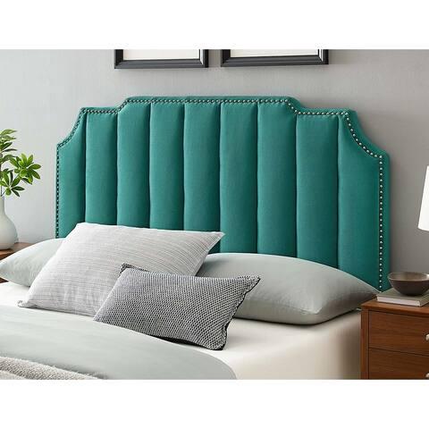 Littleton Channel Tufted Green Velvet Upholstered King/California King Size Headboard with Nailhead Trim