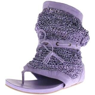 Australia Luxe Womens Fernandez Leather Mid-Calf Thong Sandals
