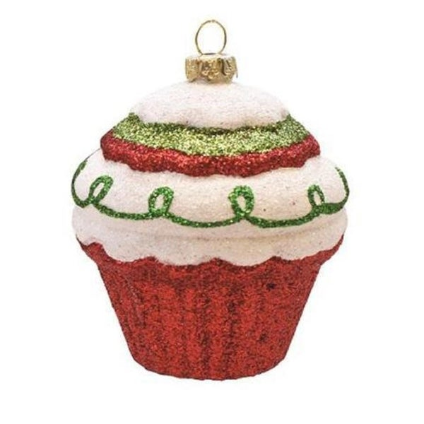 "3.5"" Merry & Bright Red, White and Green Glitter Shatterproof Cupcake Christmas Ornament"