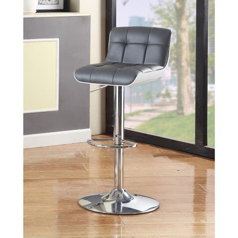 Furniture of America Brek Contemporary Faux Leather Swivel Barstool