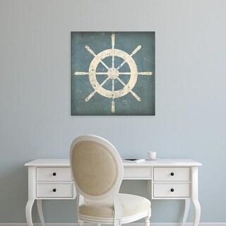 Easy Art Prints Ryan Fowler's 'Nautical Shipwheel Blue' Premium Canvas Art
