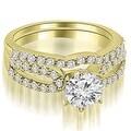 1.39 cttw. 14K Yellow Gold Exquisite Split Shank Round Diamond Bridal Set - Thumbnail 0