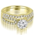 1.39 cttw. 14K Yellow Gold Exquisite Split Shank Round Diamond Bridal Set - Thumbnail 0