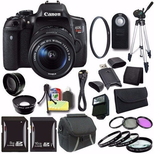 Canon EOS Rebel T6i DSLR Camera with EF-S 18-55mm f/3.5-5.6 IS STM Lens 0591C003 + 16GB SDHC Card Saver Bundle