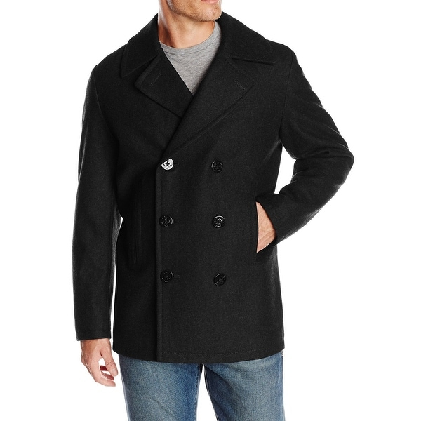 Nautica Black Deep Mens Size XL Double Breasted Peacoat Wool