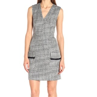 Anne Klein NEW Gray Shimmer Tweed Women's Size 6 V-Neck Sheath Dress