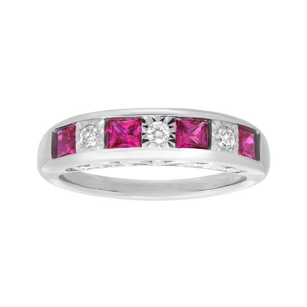 3/4 ct Created Ruby and 1/8 ct Diamond Band Ring in Sterling Silver - Red