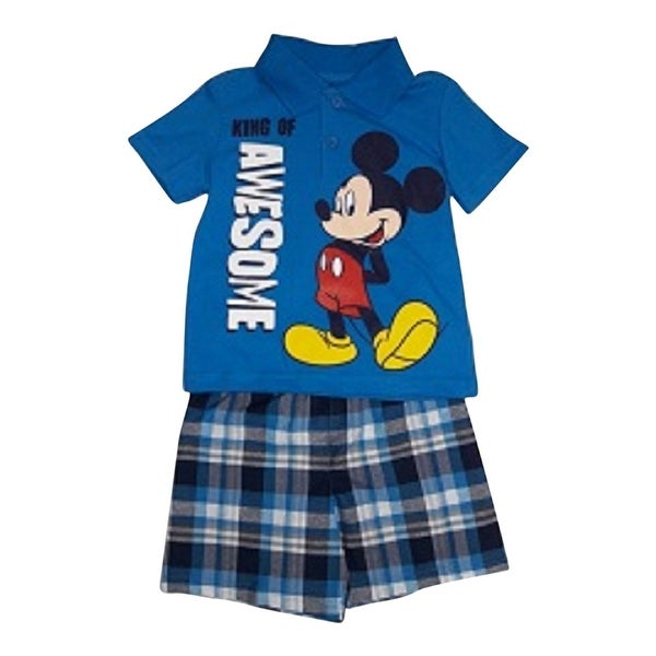 Baby Boys Blue Mickey Mouse Print Polo Shirt Plaid 2 Pc Shorts Outfit