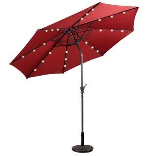 10FT Patio Solar Umbrella LED Patio Market Steel Tilt W/ Crank Outdoor New - Burgundy