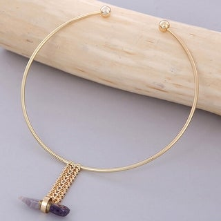Mad Style Gold Choker With Braided Pendant Stone - Purple