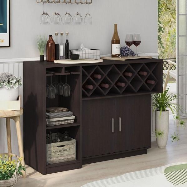 Furniture of America Leo Modern Brown 46-inch Multi-storage Buffet. Opens flyout.