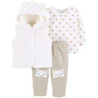 Carter's Baby Girls' 3-Piece Fuzzy Vest Set, Vanilla Cream