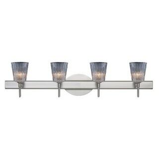 Besa Lighting 4SW-512500 Nico 4 Light Reversible Halogen Bathroom Vanity Light with Clear Stone Glass Shades