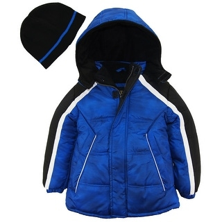 Ixtreme Toddler Boys Space Stripes Expedition Puffer Winter Jacket Coat with Hat