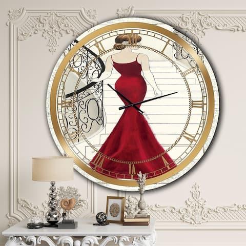 Designart 'Elegance Glam Paris Diva III' Glam Oversized Wall CLock