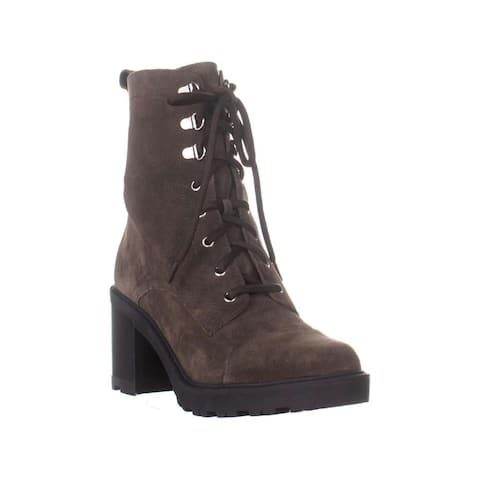 Marc Fisher Womens Lanie Leather Almond Toe Mid-Calf Combat Boots