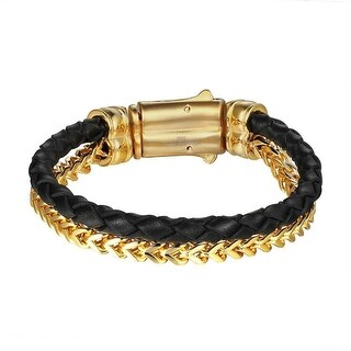 2 Row Franco Bracelet Leather Strap Stainless Steel Jewelry Gold Tone 10mm