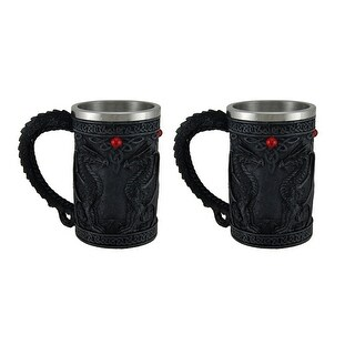 Black Dragon Celtic Knot Set of 2 Stainless Steel Lined Tankards
