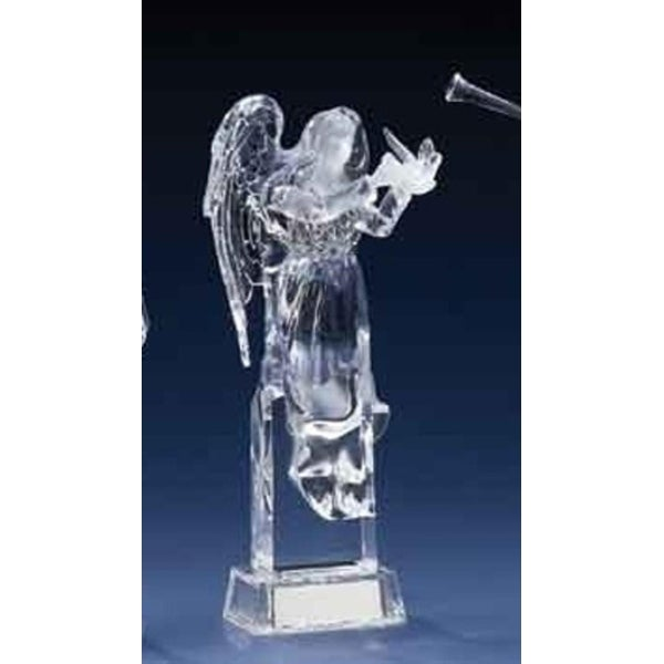 "10"" Icy Crystal LED Lighted Christmas Angel Figure Holding Dove"