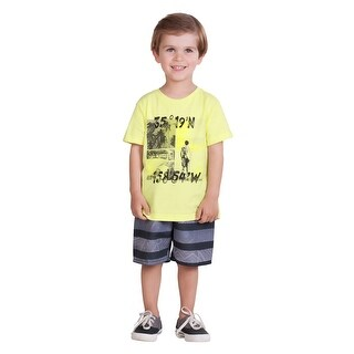 Pulla Bulla Toddler Boy 2-Piece Set Graphic Shirt and Shorts Outfit