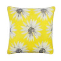 Vivai Home Yellow Giant Daisy Print 18x 18 Square Cotton Feather Pillow