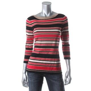 Jones New York Womens Petites Pullover Sweater Metallic 3/4 Sleeves - pl