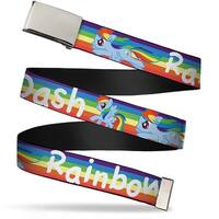 Blank Chrome  Buckle Rainbow Dash Poses W Rainbow Streak Webbing Web Belt