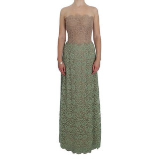 Dolce & Gabbana Green Floral Lace Pink Corset Maxi Dress - it40-s