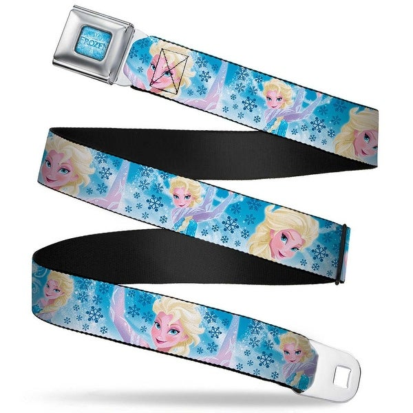 Frozen Logo Full Color Blues Frozen Elsa Poses Snowflake Swirls Blues White Seatbelt Belt
