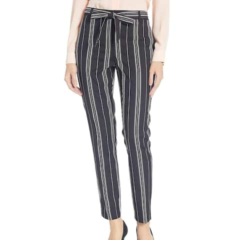 Vince Camuto Womens Pants Black Size 14 Striped Belted Slim Ankle Leg