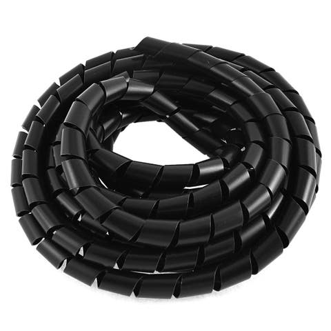 Unique Bargains Wire Cable Management Spiral Wrapping Band Black 14mm 5M