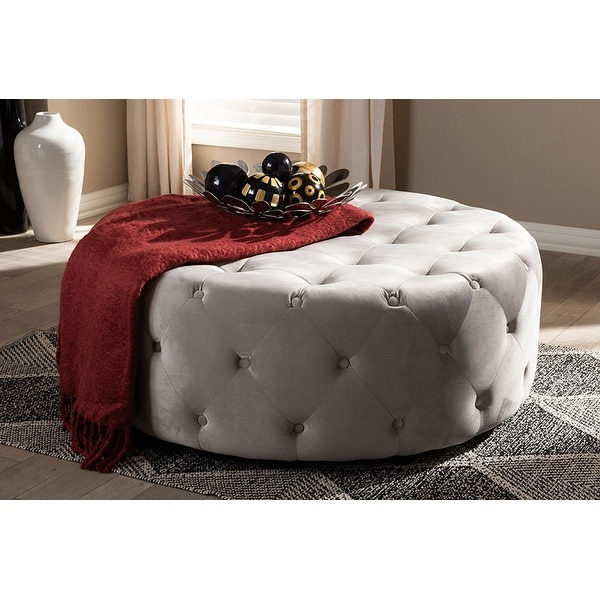 Isaac Transitional Grey Velvet Fabric Button Tufted Cocktail Ottoman